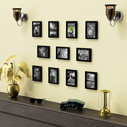 Random New Synthetic Collage Set of 11 Black Photo Frames (5 X 7 Inch - 11)