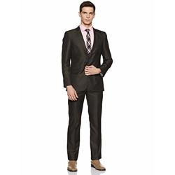 Arrow Men's Notch Lapel Regular Fit Suit (AUQF9822_42_Dk. Brown)