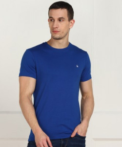 United Colors of Benetton Solid Men Round Neck Blue T-Shirt