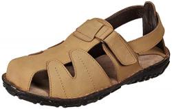 Burwood Men's Khaki Leather Casual Sandals-8 UK/India (42 EU)(BW 18)
