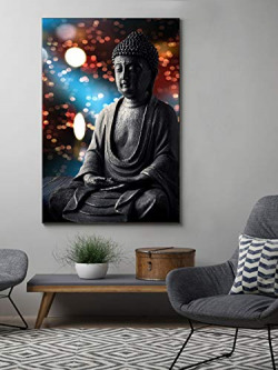 999Store Unframed Printed Multicolor Buddha Statue Canvas Painting (30X18 Inches)