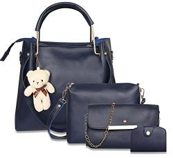 Envias Leatherette Latest Handbags For Women's Ladies Combo Of 4 (Blue_Teddy_EVS-129)