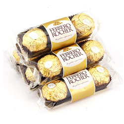 Ferrero Rocher Chocolate Pralines Treat Pack 3 Pieces - 6 Pack Pouch, 6 x 37 g