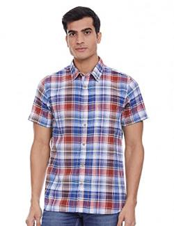 Lee Cooper Men's Checkered Regular fit Casual Shirt (LCOSH615ROYALBLUE_RoyalBlue M)