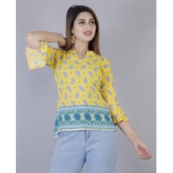 Gujari Casual Bell Sleeve Floral Print Women Yellow Top