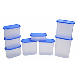 Cutting Edge Modular Containers Oval with Plain Lid Set for Rice, Dal,Atta, Flour, Cereals, Pulses, Snacks, Stackable Kitchen Organizer Set of 8 - Blue Lids