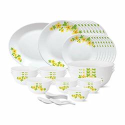 Larah by Borosil - Tiara Series, Golden Shower, 44 Pcs, Opalware Dinner Set, White