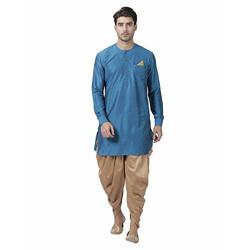 Vastramay Men's Dark Blue Cotton Silk Blend Kurta and Pyjama Set - (VASMK063FZnCDRG) for Size - 36