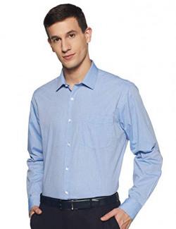 Amazon Brand - Arthur Harvey Men's Solid Regular Fit Shirt (SS20-AH-SH-01_PRG26465K_Light Blue 3 39)