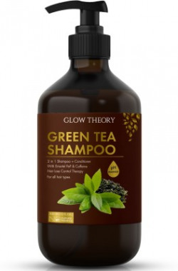 GLOW THEORY Green Tea Shampoo (2 in 1 : Shampoo + Conditioner) with Emortel Pep & Caffeine - Hairfall/hairloss control therapy for all hair types - 300 ml(300 ml)