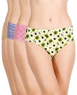 Lux Cozi for Her Women's Printed Cotton Hipster Panties (COZIHER_PTY_102_4PC_Assorted_95) (Combo Pack of 4) (Colors and Prints May Vary)