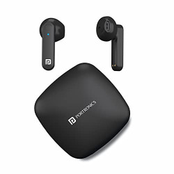 Portronics Harmonics Twins S2 Wireless Sports Earbuds Bluetooth 5.0 I Voice Assistant I 20 Hrs Playtime with Case I Type C Charging (Black)