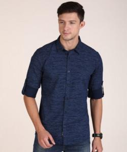 METRONAUT Men Printed Casual Dark Blue Shirt