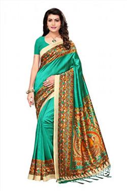 Oomph! Womens Art Silk Printed Kalamkari Sarees with Tassles - Chetreuse Green & Mustard