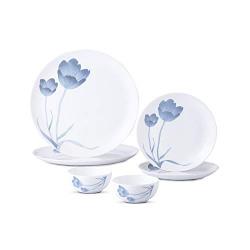 Larah By Borosil - Moon Series, Tulip 6 Pieces Opalware Dinner Set, White