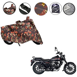 Auto Pearl 100% Water Proof Jungle Print Bike Body Cover with Mirror Pockets, Buckle Belt, Carry Bag for - Bajaj Avenger Street 220