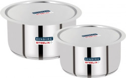 Renberg Steelix Plus Tope Set with Lid 3.5 L, 4.3 L capacity 14 cm, 16 cm diameter(Stainless Steel, Induction Bottom)