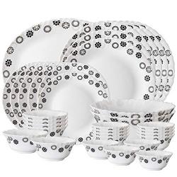 Larah By Borosil Universe Opalware Dinner Set, 33-Pieces, White