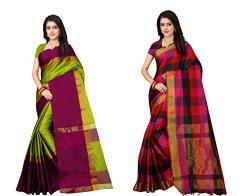 Dhruvi Trendz Soft Cotton & Silk Saree For Women Banarasi Saree Under 399 2021 Beautiful For Women saree Combo Pack OF 2(Red & Multi &Green_Free Size)