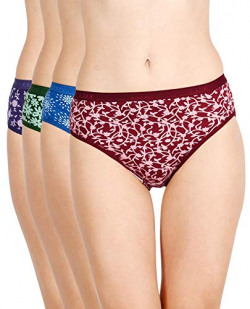 Lux Cozi for Her Women's Printed Cotton Hipster Panties (COZIHER_PTY_203_4PC_Assorted_90) (Combo Pack of 4) (Colors and Prints May Vary)