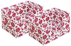 Fun Homes Flower Design 2 Pieces Large Capacity Space Saver Closet, Stackable and Foldable Saree, Clothes Storage Bag, Non-Woven Rectangle Cloth Saree Stacker Wardrobe Organizer (Pink) (Fun0539)