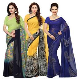 Ishin Combo of 3 Multicolor Poly Georgette Printed Women Saree/Sari