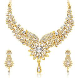 Sukkhi Fabulous Gold Plated Wedding Jewellery Austrian Diamond Choker Necklace Set For Women (2560NADP800)