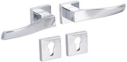 Harrison CORAL-44562 White Metal Collection Door Handle Set (Silver, 5 Pin, 3 Keys)
