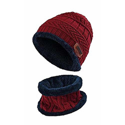 Zacharias Men's Cold Weather Set Cap & Scarf/Muffler (Set of 2) (Pack of 1) (cm-101_ Maroon_Free Size)