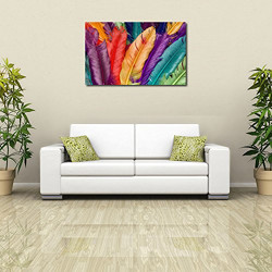 999Store canvas framed Bird Feathers Printed Home Decor like Modern Wall Art Painting - Large Size ( 91 Cms x 61 Cms)