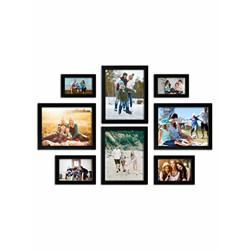 Random Set of 8 photo frames (4 x6 -2pcs, 5 X7 -2pcs, & 8 X10 -4pcS), Black