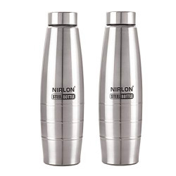 Nirlon Stainless Steel Freezer Water Bottle 1000 ml pack of 02,use for office,home,