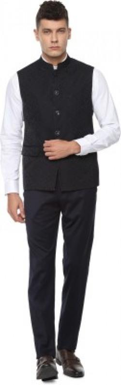VAN HEUSEN 2 Piece Self Design Men Suit