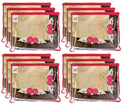 Fun Homes Non Woven 12 Pieces Single Packing Saree Cover Set (Red)