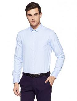 Excalibur by Unlimited Men's Solid Regular Fit Formal Shirt (276307919 BLUE 44)
