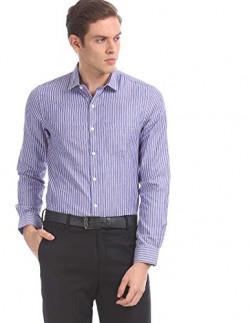 Excalibur by Unlimited Men's Solid Regular Fit Formal Shirt (276436737 BLUE 44 FS)