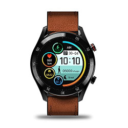 Gionee STYLFIT GSW8 Smartwatch with Bluetooth Calling and Music, Built-in mic & Speaker, Internal Storage, HR Monitoring, Multiple Sport Mode, Full Touch Control (Sienna Brown)