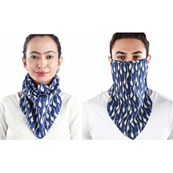 Zuperb Lingerie Cotton Mouth Nose Cover Unisex Anti-Pollution Reusable Printed Cloth Mask Scarf, White Swan Blue Lake, Pack of 1 (Free Size)