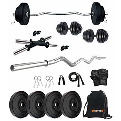 Kore PVC 10 Kg Combo 3 Home Gym Set with One 3 Ft Curl Rod and One Pair Dumbbell Rods with Gym Accessories, Black