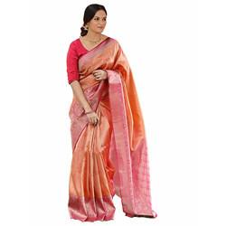 Shasmi Women's Designer Orange Silver and Bollywood Pink Silk Blend Kanjivaram Jacquard Woven Saree For Women (Papet Banarasi Peach Pink Shasmi)