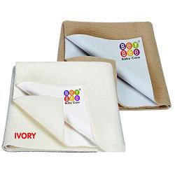 BeyBee Waterproof Combo Bed Protector Sheet (Small Combo, Ivory+Beige)
