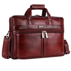 Hammonds Flycatcher Original Bombay Brown Leather 15.6 inch Laptop Messenger Bag with Trolley Straps(L=41,H=27, B=11 cm) LB102BR