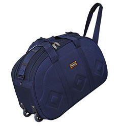 Nice Line Polyester 40 L Blue Duffel Bag with 2 Wheel for Men and Women