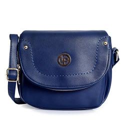 Lino Perros Womens Black Leatherette Hand Bag (BLUE)