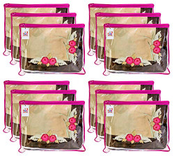 Fun Homes Non Woven 12 Pieces Single Packing Saree Cover Set (Pink), Pack of 12 (Fun0136)