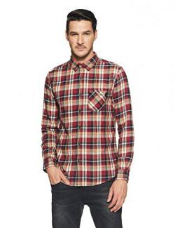 Spykar Men's Checkered Slim Fit Casual Shirt (MSH-02AH-196_Red_Medium)