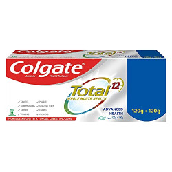 Colgate Total Whole Mouth Health, Antibacterial Toothpaste, 120gm + 120gm (Advanced Health, Saver Pack)