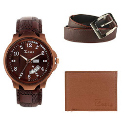 Zesta Combo Pack of Brown Analogue Watch, Brown Wallet and Brown Belt for Men and Boys - Z1103