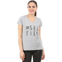 MIDAAS Printed Women V-neck Grey T-Shirt