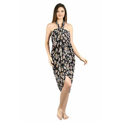 SOURBH Women's Georgette Blossom Flower Printed Beachwear Swimsuit Cover up Wrap Sarong (S632-Black, White-1.75 Meters)